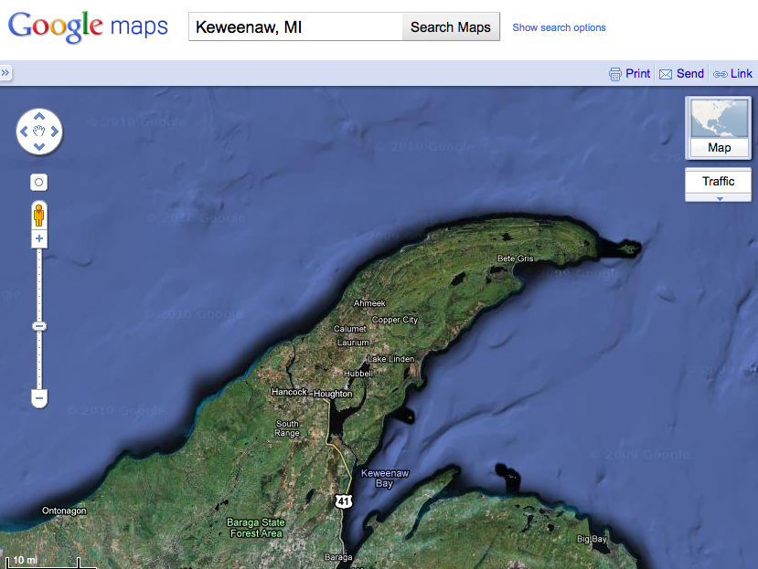 Google Map of the Keweenaw, MI